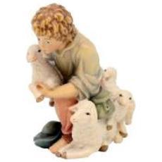 16805-14-C-08 Contadino con pecorelle in legno per Presepe Altezza cm 6