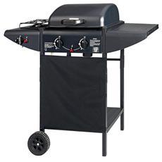 Barbecue A Gas Griglia Cromata Accensione Piezoelettrica Con 2 Ruote