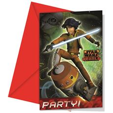 Lotto 6 Cartoncini D'invito Star Wars Rebels Taglia Unica