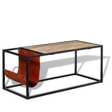 Tavolino Da Caffè In Vera Pelle Con Portariviste 110x50x45 Cm