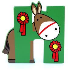 Lettera H Animali Cavallo In Legno Cm 7x7,5x1 Per Cameretta Bambini