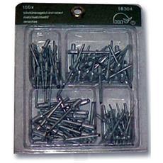 Assortimento Set 100 Rivetti Alluminio Pz 25 X Mm. 2,4-3,2-4,0-4,8 Rivettatrice