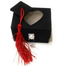Set 12 Pezzi Bomboniera Bomboniere Cappello Tesi Cuore Scatolina 7x5.5x5.5 Cm Portaconfetti Porta Confetti Laurea
