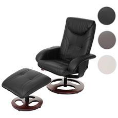 Poltrona Relax Hwc-c46 Con Poggiapiedi Ecopelle Inclinabile 68x77x105cm Nero
