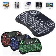 Mini Tastiera Qwerty Retroilluminato Wireless Ergonomica Con Mouse Touchpad Keyboard Per Smart Tv Pc Htpc Console