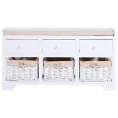 Panca Portaoggetti In Legno Con Cassetti E Ceste In Vimini, Bianco, 98x34x52cm