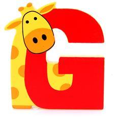 Lettera G Animali Giraffa In Legno Cm 6,5x7,5x1 Per Cameretta Bambini