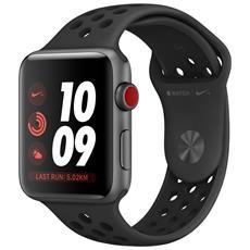 Watch Nike+ GPS + Cellular da 42 mm Cassa in alluminio Grigio scuro con cinturino Nike Sport Band Nero