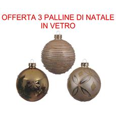 3 Palline In Vetro Perla / oro Assortite 8 Cm Addobbi Albero Decorazioni