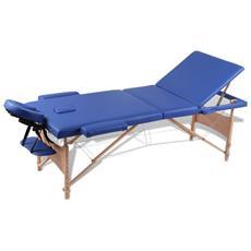 Lettino Pieghevole Da Massaggio Blu 3 Zone Con Telaio Legno