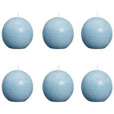 Candele a Sfera Rustiche 6 pz 80 mm Blu Acqua