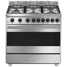 smeg cucina a gas b9gvxi9 6 fuochi con forno a gas ventilato