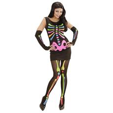 Costume da Donna 'Neon Skeleton Girl' Taglia L