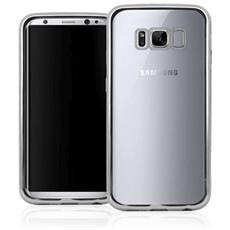 Cover in TPU per Galaxy S8 Plus Trasparente e Argento