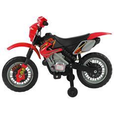 Moto Cross Elettrica Per Bambini Con Rotelle Rosso 102x53x66cm