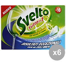 Set 6 Tabs Lavastoviglie Tutto In 1 Limone X 16 Pezzi Detergenti Casa