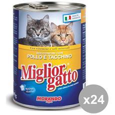 Set 24 405 Gr. Umido Bocconcini Pollo-tacchino Cibo Per Animali