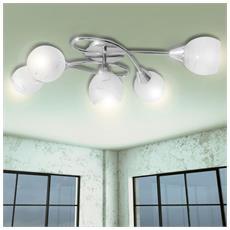 Lampada Da Soffitto Con Paralume Vetro Per 5 Lampadine E14