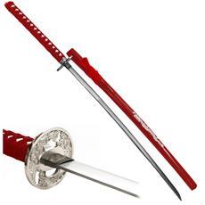 Katana Ornamentale Spada Giapponese Per Arredamento Rossa Dragone Con Drago Red Dragon In Metallo