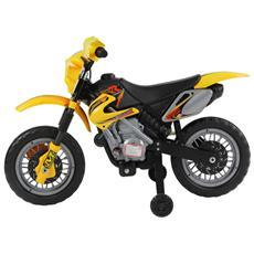 Moto Cross Elettrica Per Bambini Con Rotelle Giallo