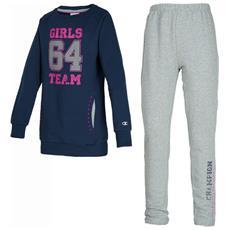 Tuta Bambina Sweat Suit Full Zip Xl Blu Grigio
