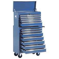 Carrello da officina professionale porta attrezzi con cassettiera 61.5 x 33 x 113cm blu
