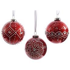 3 Palline 6cm Rosse Decorate Glitter Natale Addobbi Decoro Albero