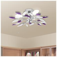 Lampada da soffitto con braccia a foglie bianche e viola in cristallo acrilico per lampadine 3 E14
