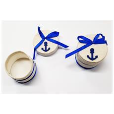Set 12 Pezzi Bomboniera Bomboniere Scatolina Scatola Ancora Blu Marino Portaconfetti Porta Confetti Matrimonio Compleanno