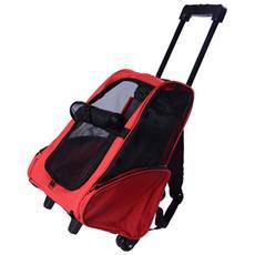 Trolley zaino per cani cuccioli, rosso, 35x27x49cm