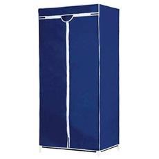 Armadio Guardaroba In Tessuto 160x75x50 Cm Appendiabiti Organizzatore Blu