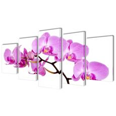 5 Pz Set Stampa Su Tela Da Muro Orchidèa 200 X 100 Cm