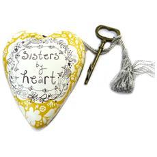 decorative oggetto 'art hearts' dorato bianco (sorelle a memoria) - 10x85x35 cm - [ p1141]