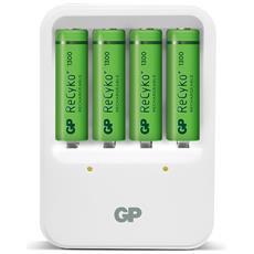 IC-GP202204 - Caricabatterie 4 AA / AAA con 4 batterie AA 1300mAh USB bianco