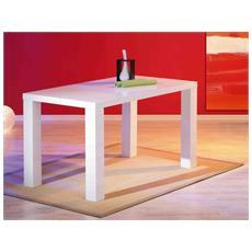 Tavolo In Mdf Laccato Bianco Lucido, 160x80 Cm