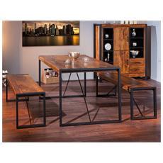 Tavolo Da Pranzo Dim 180x90x76h Struttura In Metallo Piano Superiore In Legno Massello Di Sheesham