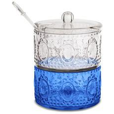 Set Zuccheriera E Mini Bonbon Blue Ø 11cm, H 9,2cm In Acrilico - Linea Baroque&rock