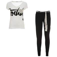 Completo Donna Pantalone + T-shirt Xs Nero Bianco