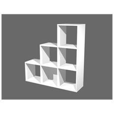 pz. 1 libreria 6 caselle scalare Bianco - 6D MaxC / 3