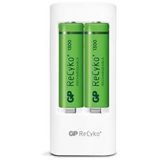 IC-GP202200 - Caricabatterie 2 AA / AAA con 4 batterie AA 1300mAh USB bianco