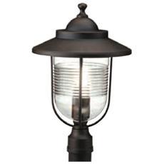 Lampada testa palo classica luce da esterno manicotto 60mm ruggine