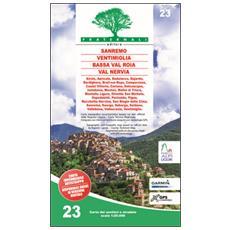 Carta n. 23. Sanremo, Ventimiglia, Bassa Val Roia, Val Nervia. Carta dei sentieri e stradale scala 1:25.000