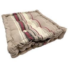 Soleil D'ocre 006683 Cuscino Materasso In Cotone Jacquard 40 X 40 X 8 Cm Stripes Tortora