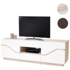 Mobile Porta Tv Tavolino Salotto Torquay T727 2 Cassetti Mdf 42x149x49cm Legno Chiaro E Bianco
