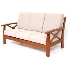 Divano 3 posti in legno massiccio e stoffa di ciniglia colore Ecru