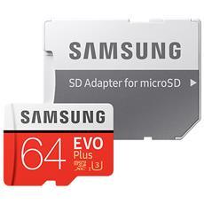 MicroSD XC EVO Plus Capacità 64 GB UHS-I 3 Classe 10 Velocità fino 100 MB / s con Adattatore SD