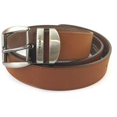 cintura in pelle '' bruno marrone chiaro - 100 centimetri 35 mm - [ n5591]