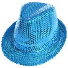 Cappello Borsalino Paillettes Azzurro Spettacolo Teatro Paillette Ballo Cappellino Raso Uomo Donna Slim