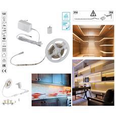 Kit Striscia Led Con Tasto Interruttore Touch Dimmer Bianco Caldo 3000k 7,5 Watt