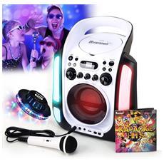Usb Led Bambini Karaoke Incinta Partito Player Bluetooth Echo Regolabile + Microfono + Cd Audio - 12h Autonomia E La Luce Ufo